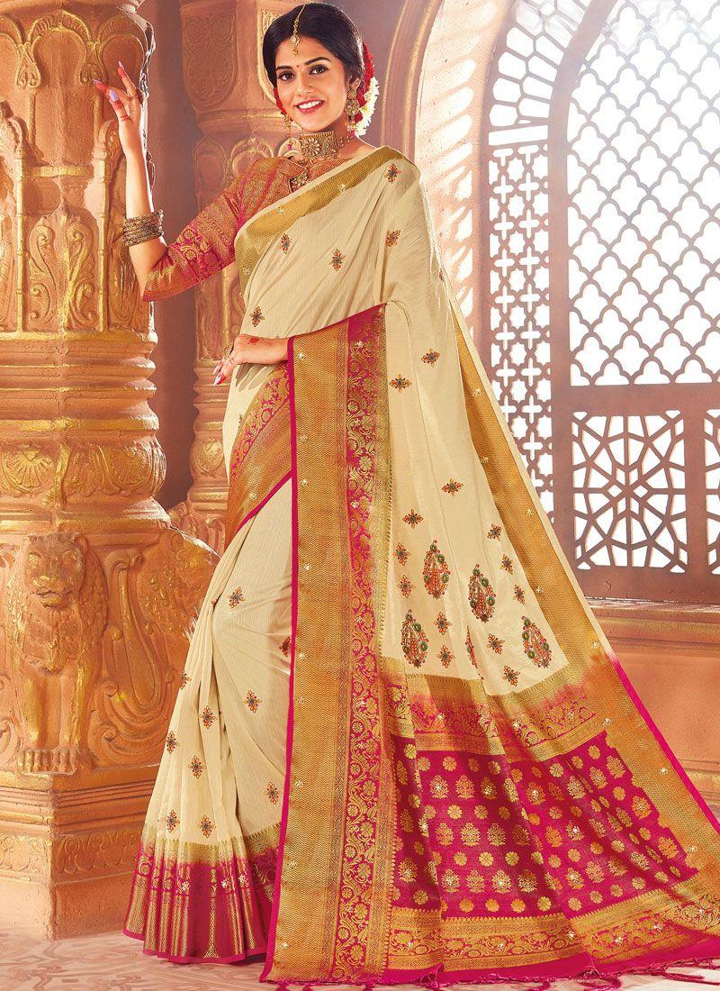 Thread Work Art Silk Designer Traditional Saree in Cream