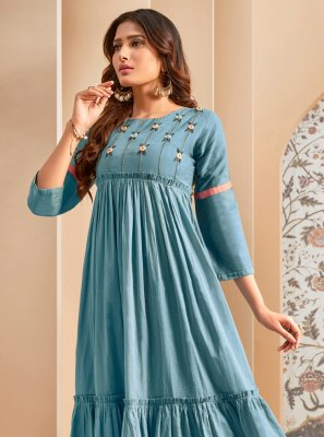 Thread Work Cotton Casual Kurti