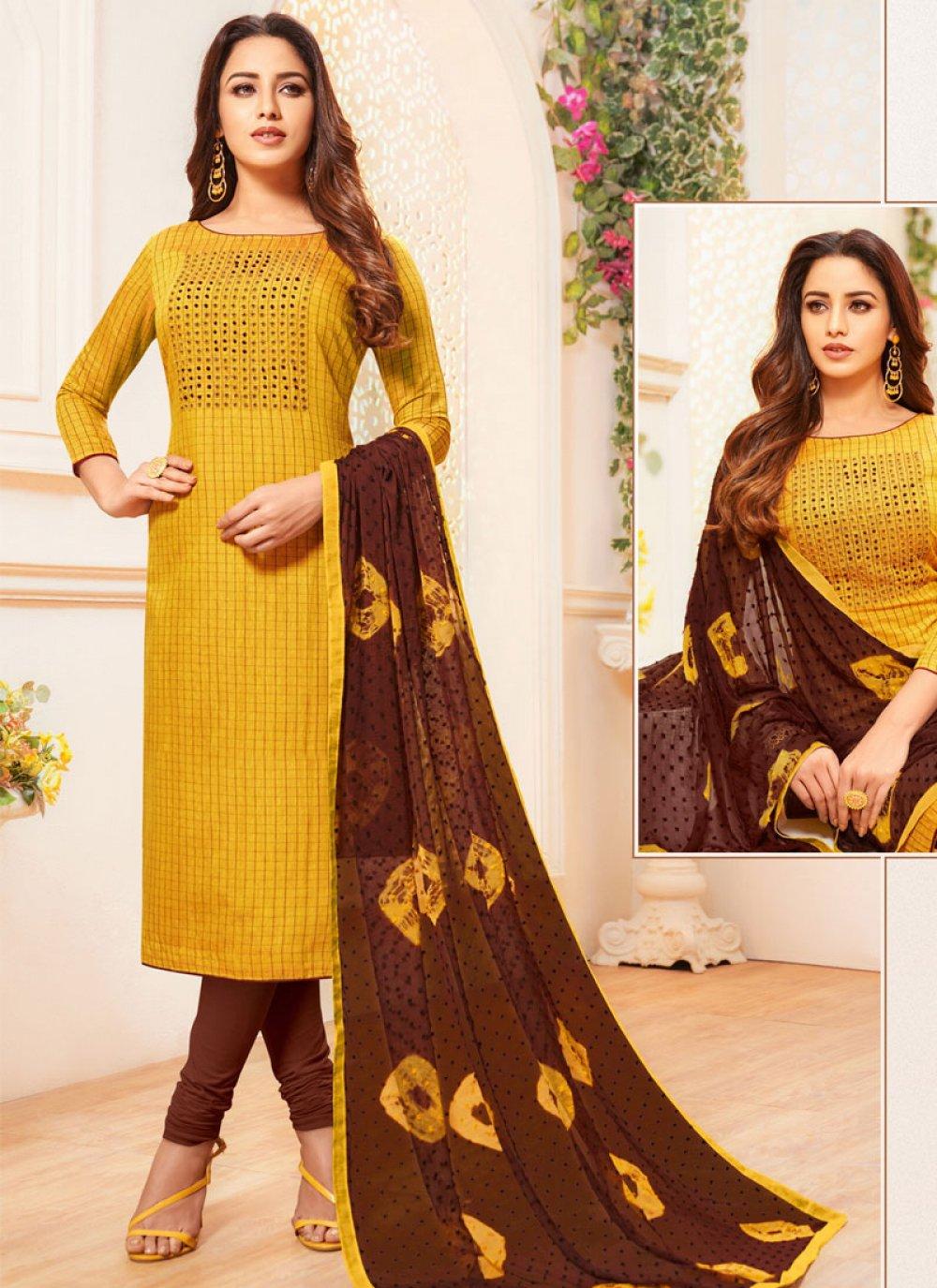 Thread Work Cotton Churidar Salwar Kameez