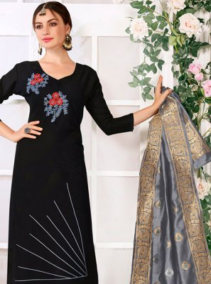 Thread Work Cotton Churidar Suit in Black