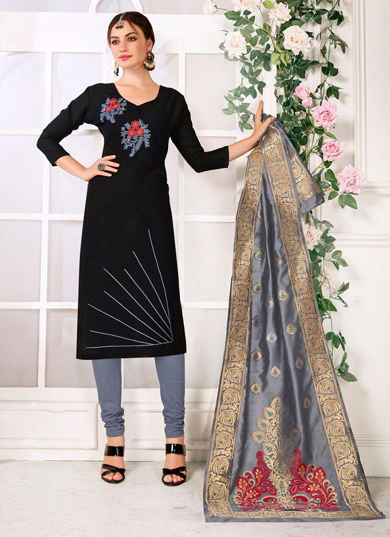 Thread Work Cotton Churidar Suit in Black