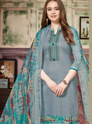 Thread Work Cotton Pant Style Suit