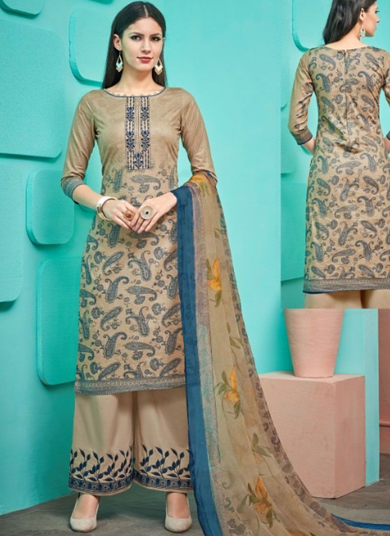 Thread Work Cream Designer Palazzo Salwar Suit
