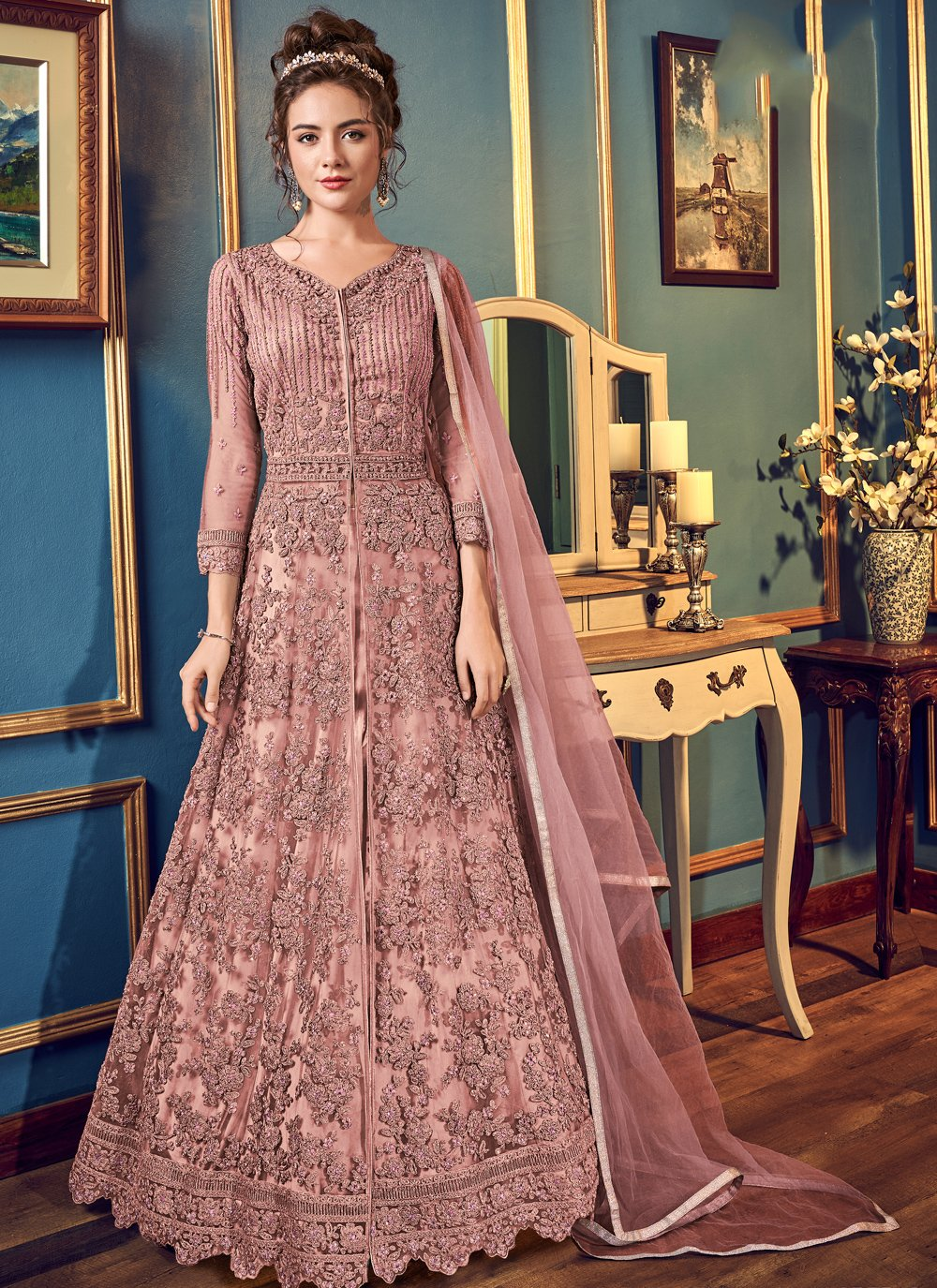 Thread Work Fancy Fabric Pink Trendy Long Choli Lehenga