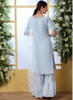 Thread Work Faux Georgette Designer Palazzo Suit in Blue