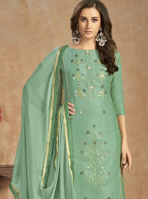 Thread Work Green Cotton Salwar Kameez