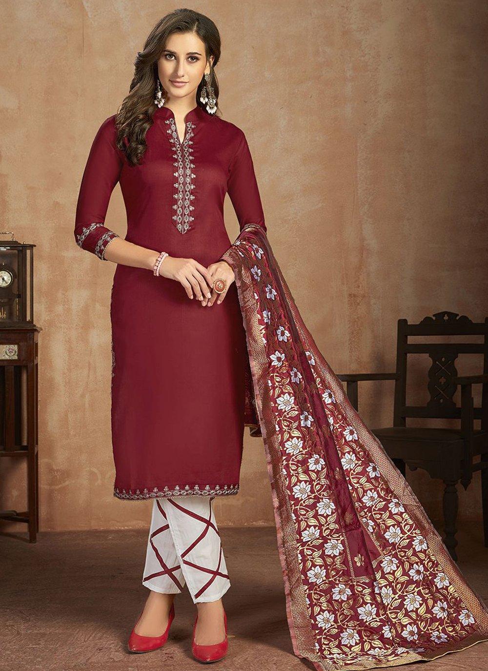 Thread Work Maroon Salwar Suit