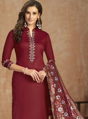 Thread Work Maroon Salwar Suit