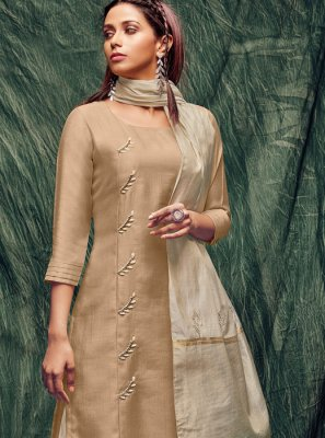 Thread Work Silk Beige Casual Kurti