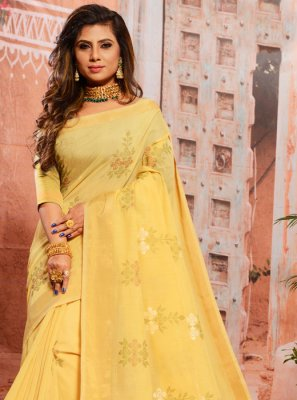 Thread Yellow Casual Saree