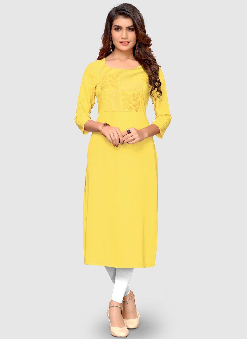Thread Yellow Rayon Party Wear Kurti