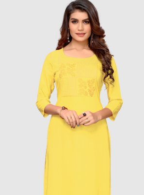 Thread Yellow Rayon Party Wear Kurti