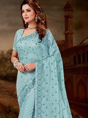 Tissue Blue Designer Saree