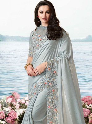 Tissue Embroidered Grey Traditional Designer Saree