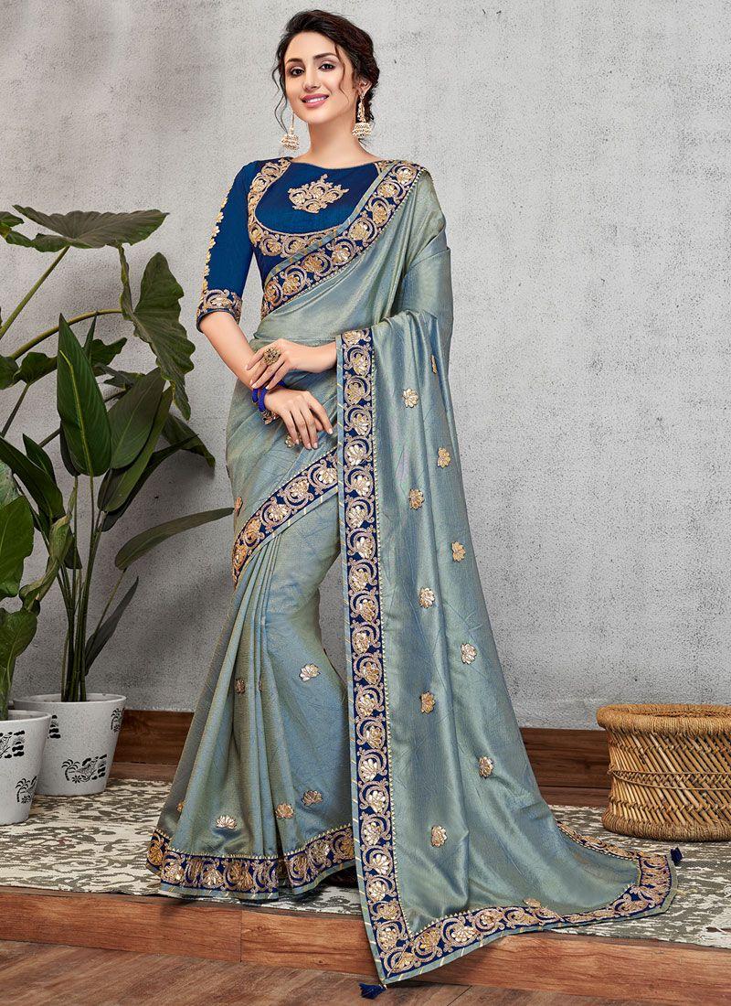 Traditional Designer Saree Embroidered Art Silk in Blue