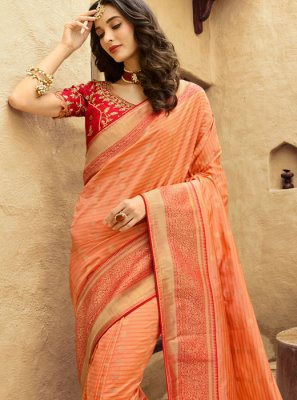 Traditional Designer Saree Embroidered Art Silk in Peach