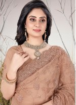 Traditional Designer Saree Embroidered Net in Brown