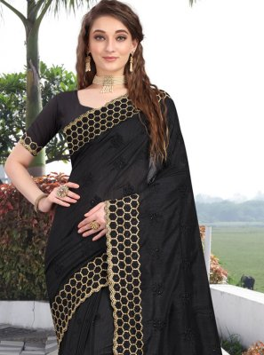 Traditional Designer Saree Embroidered Silk in Black
