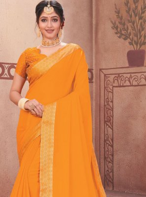 Traditional Designer Saree Patch Border Faux Chiffon in Mustard