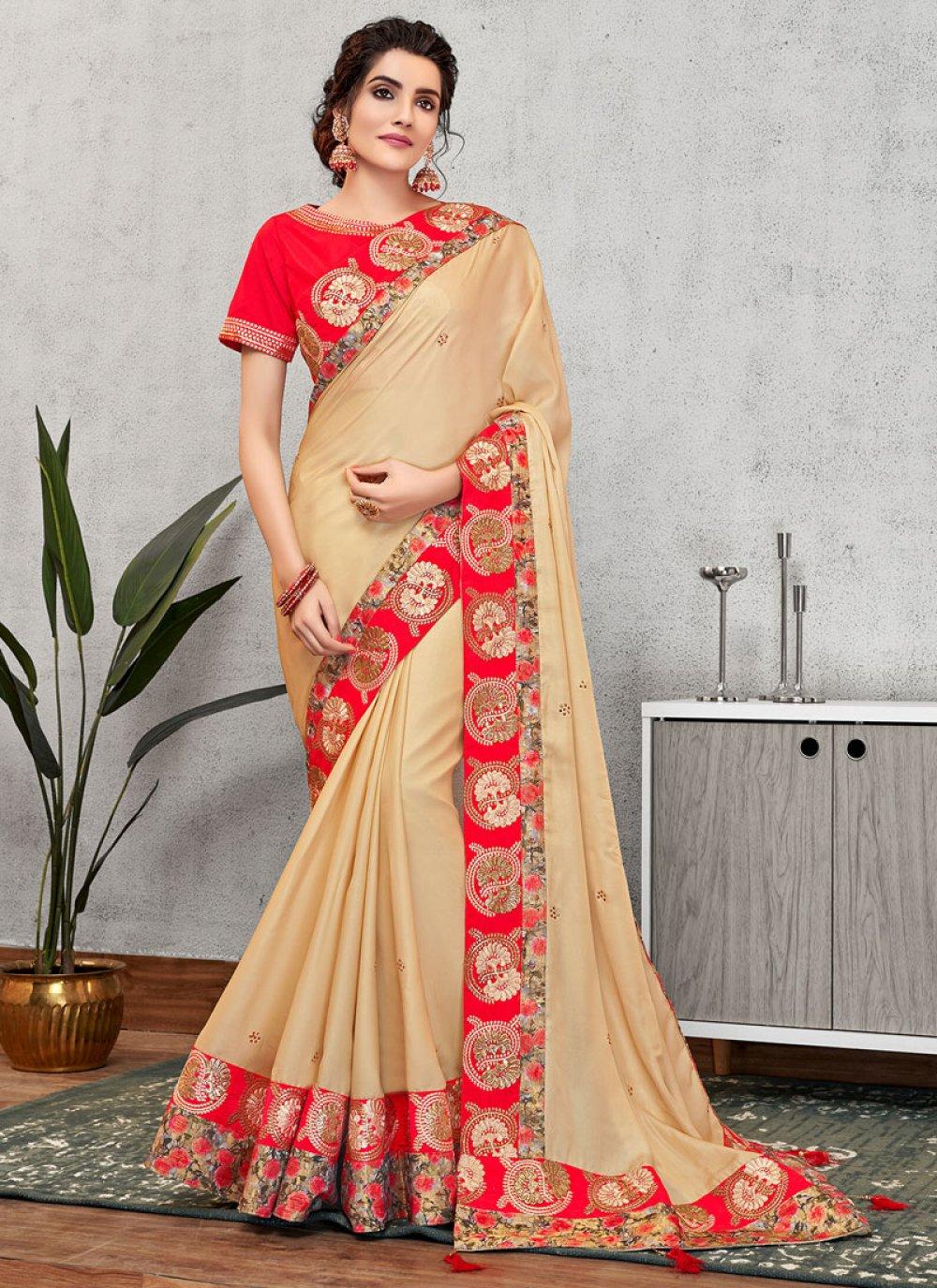 Traditional Designer Saree Patch Border Faux Georgette in Cream