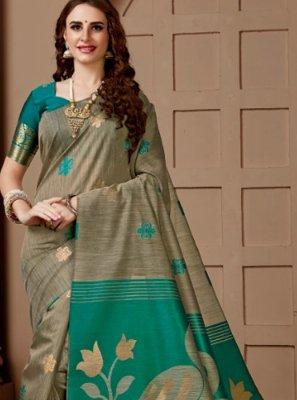 Traditional Designer Saree Print Cotton Silk in Beige