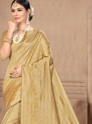 Traditional Designer Saree Weaving Art Silk in Gold