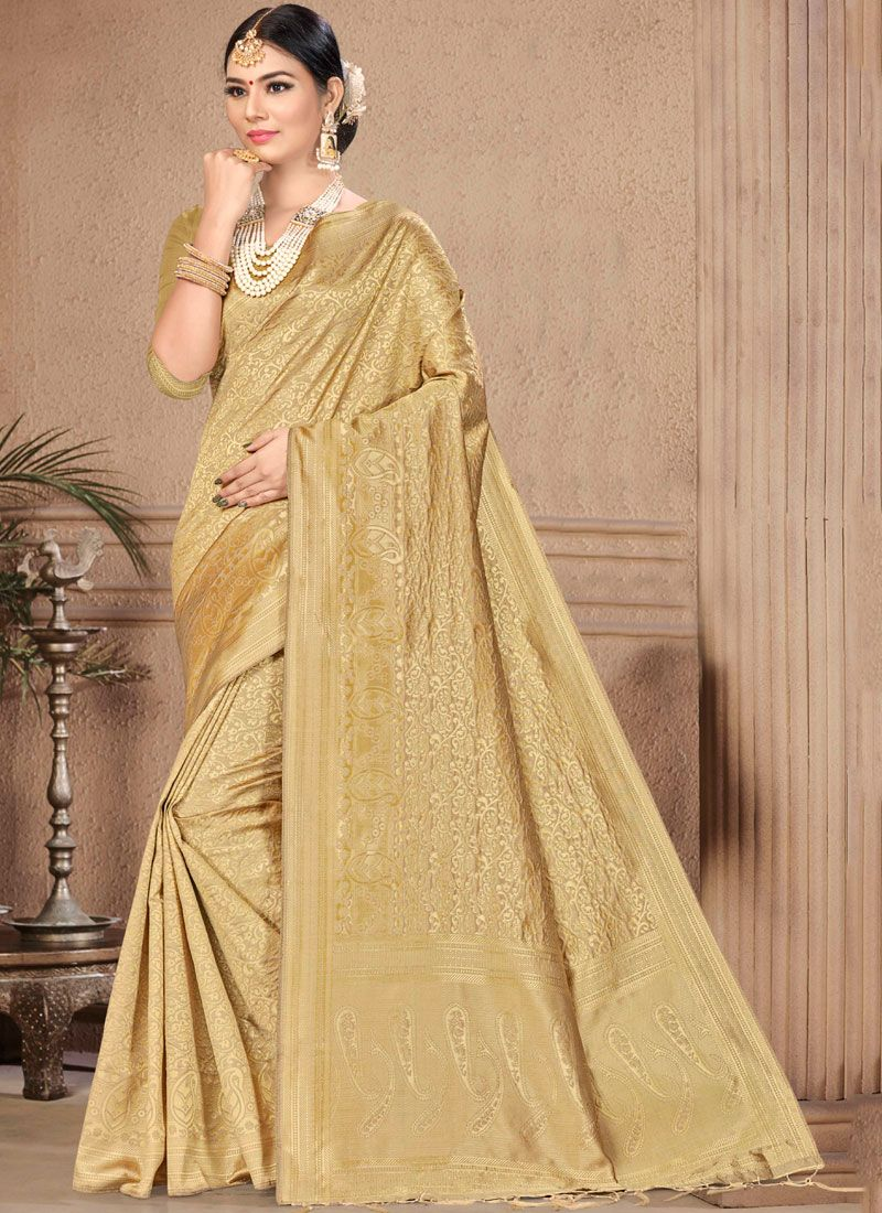 Traditional Designer Saree Weaving Art Silk in Gold