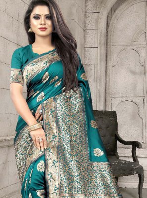Traditional Designer Saree Weaving Art Silk in Sea Green