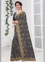 Traditional Designer Saree Zari Silk in Grey
