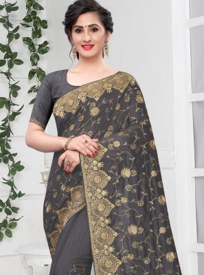 Traditional Designer Saree Zari Silk in Grey