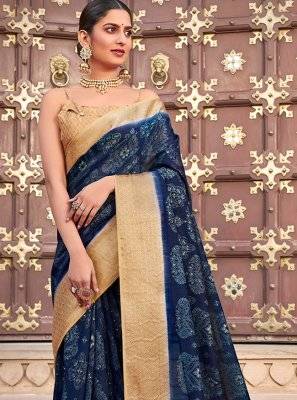 Traditional Saree Abstract Print Cotton Silk in Blue