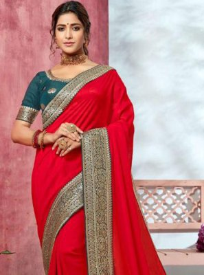 Traditional Saree Border Silk in Red