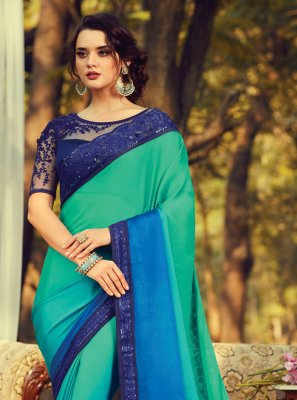 Traditional Saree Embroidered Faux Chiffon in Multi Colour