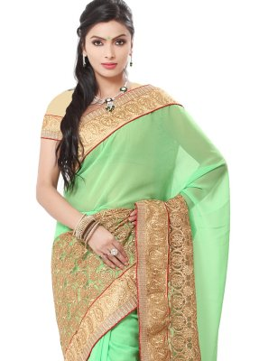 Traditional Saree Embroidered Georgette in Green