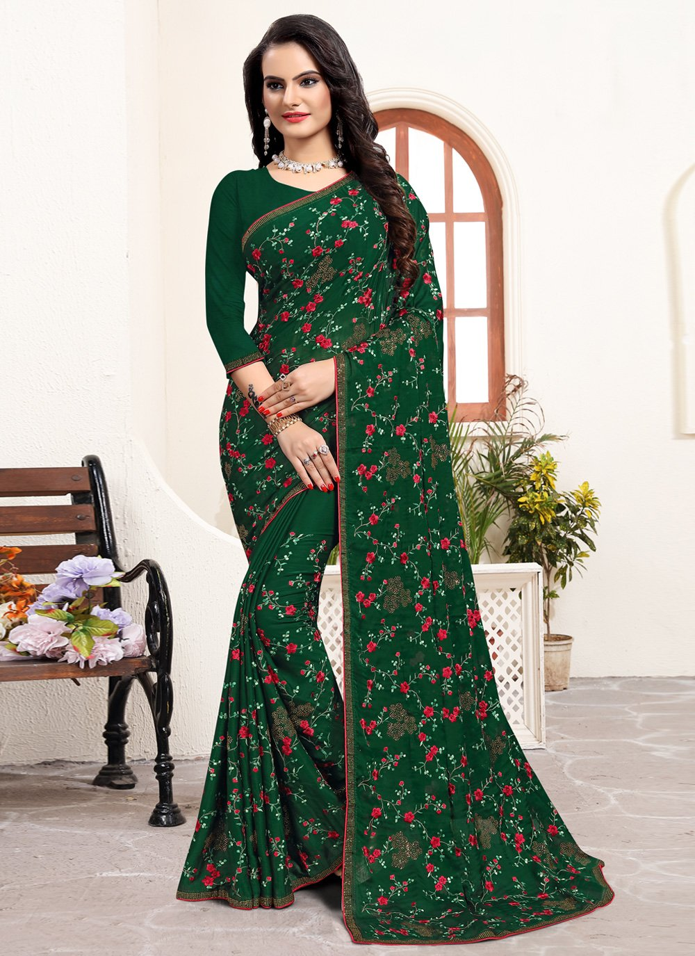 Traditional Saree Embroidered Satin Silk in Green