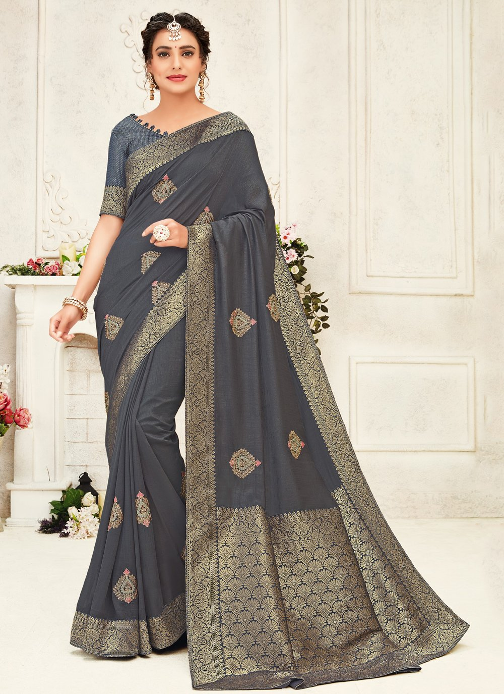 Traditional Saree Embroidered Silk in Grey