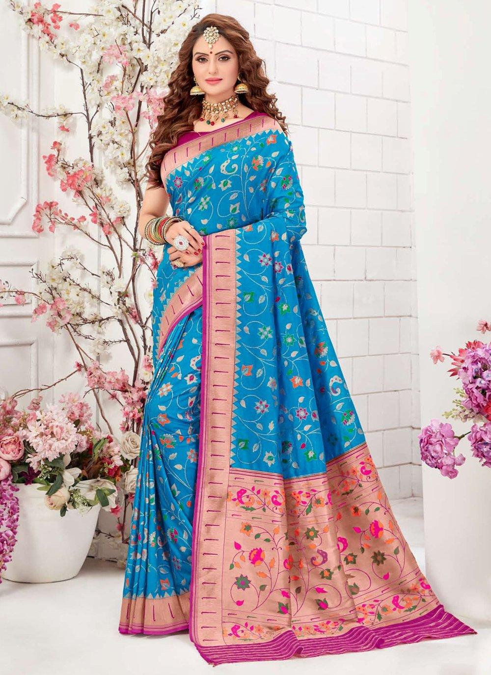 Traditional Saree Meenakari Silk in Turquoise