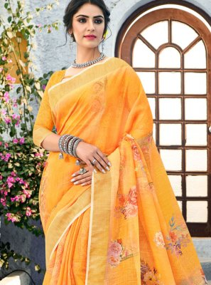 Traditional Saree Printed Linen in Orange