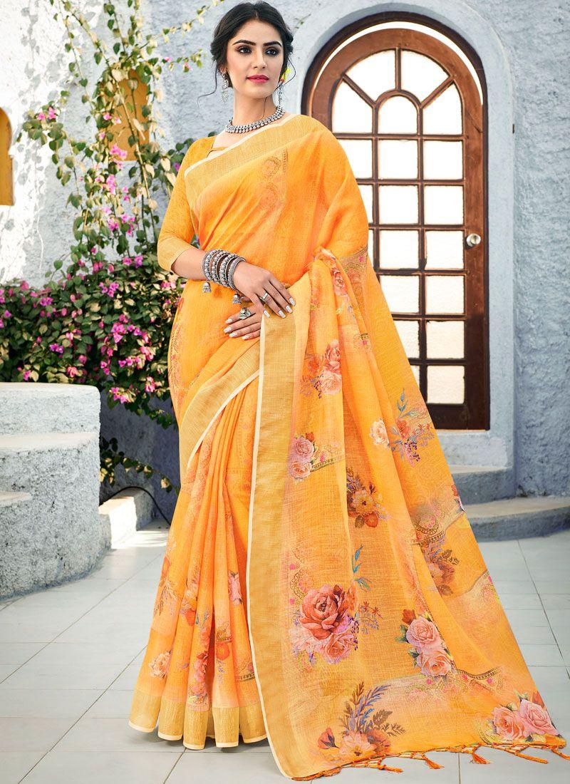 Traditional Saree Printed Linen in Orange