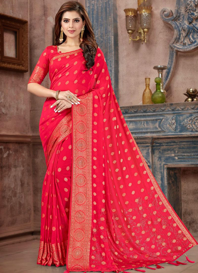 Traditional Saree Stone Work Silk in Hot Pink