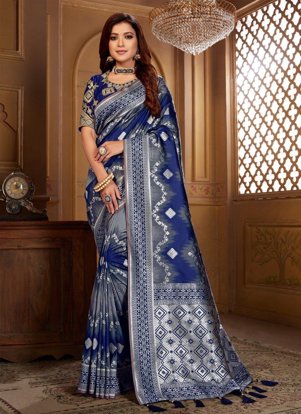 Traditional Saree Thread Jacquard Silk in Blue