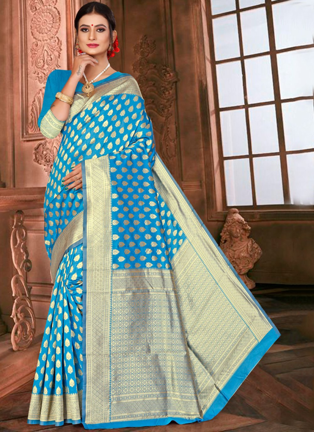 Traditional Saree Weaving Art Silk in Blue