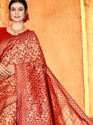 Traditional Saree Weaving Art Silk in Maroon