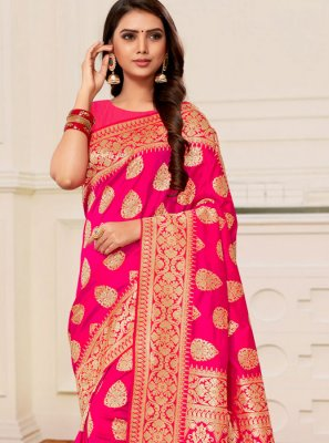 Traditional Saree Weaving Banarasi Silk in Hot Pink