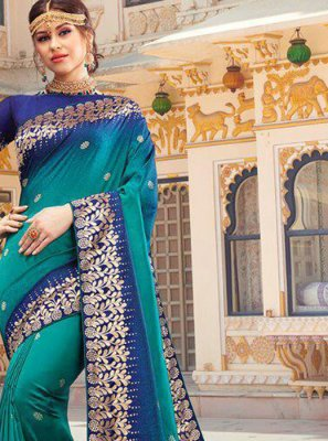 Traditional Saree Weaving Silk in Blue and Teal