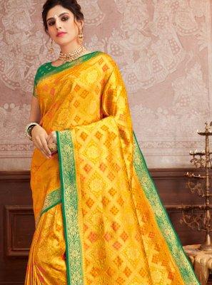 Traditional Saree Weaving Silk in Mustard
