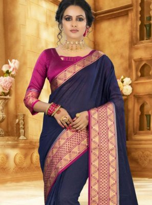 Traditional Saree Weaving Silk in Navy Blue