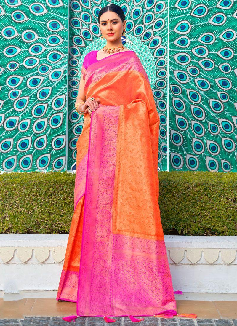 Traditional Saree Weaving Silk in Orange