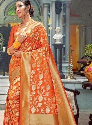 Traditional Saree Weaving Silk in Orange