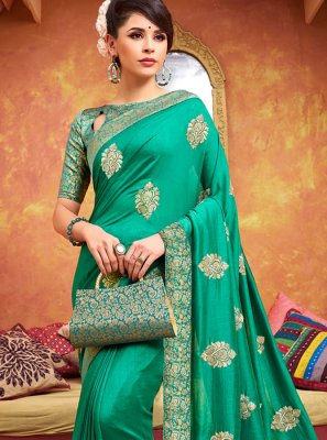 Traditional Saree Zari Silk in Green